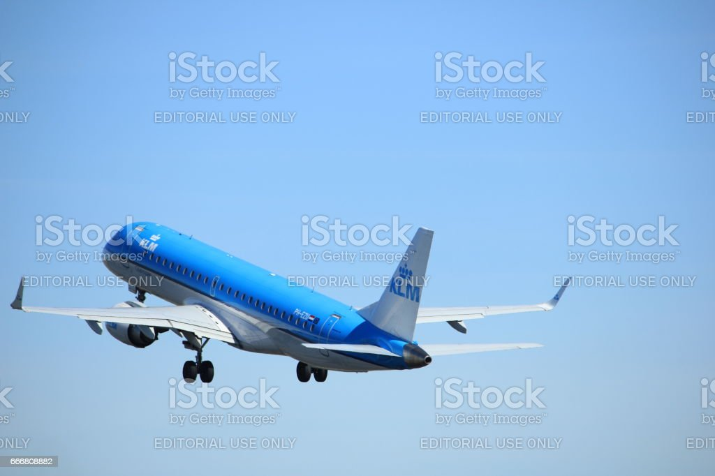 Amsterdam the Netherlands - March 25th, 2017: PH-EZU KLM Cityhopper Embraer stock photo