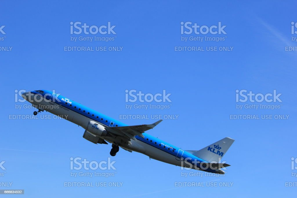 Amsterdam the Netherlands - March 25th, 2017: PH-EZY KLM Cityhopper stock photo