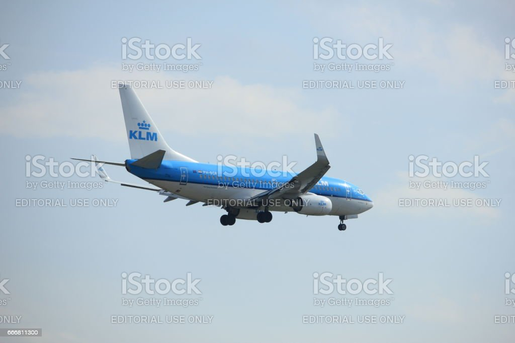 Amsterdam, the Netherlands - March 31st, 2017: PH-BGR KLM Royal Dutch Airlines Boeing 737 stock photo