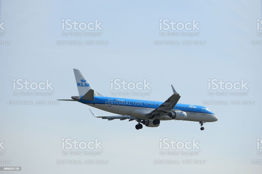 Amsterdam, the Netherlands - March 31st, 2017: PH-EZT KLM Cityhopper Embraer ERJ-190STD stock photo