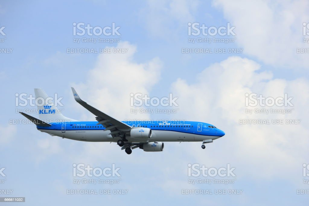Amsterdam, the Netherlands - March 31st, 2017:  PH-HSD KLM Royal Dutch Airlines Boeing 737-800 stock photo