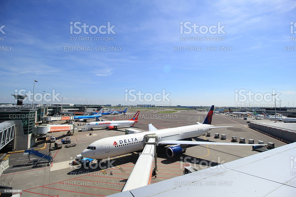 Amsterdam The Netherlands -  May 13th 2016: Planes on platform stock photo
