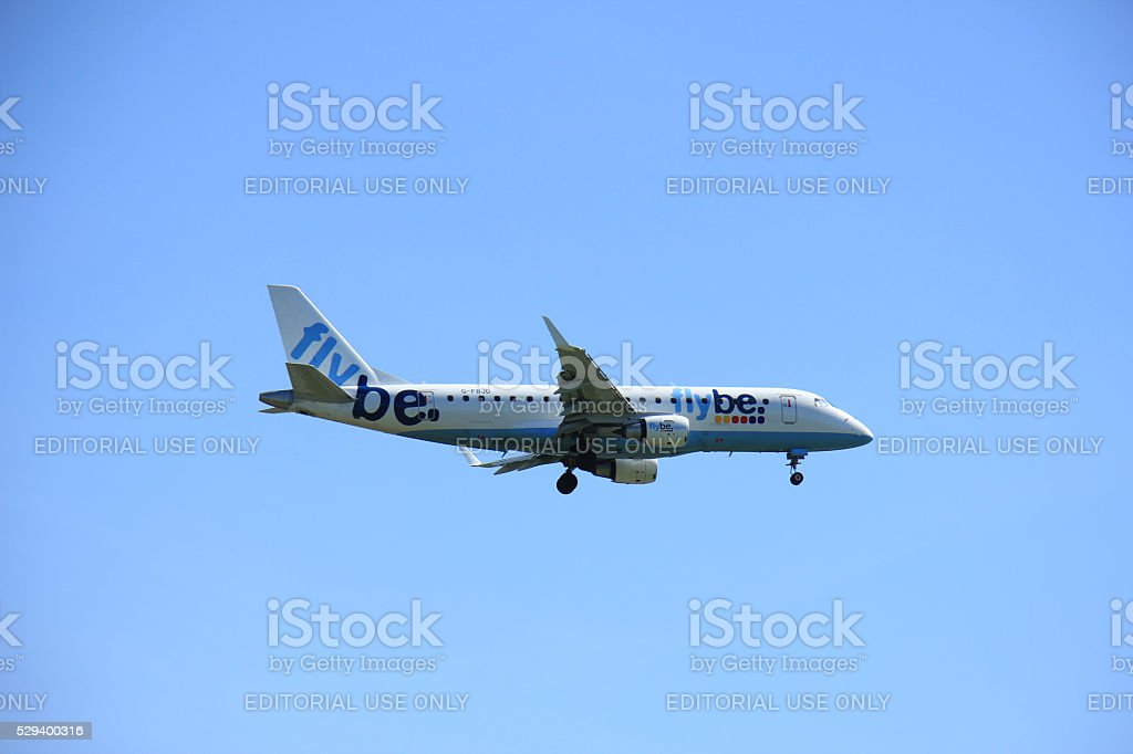Amsterdam, The Netherlands  - May 5th 2016: G-FBJD Flybe Embraer stock photo