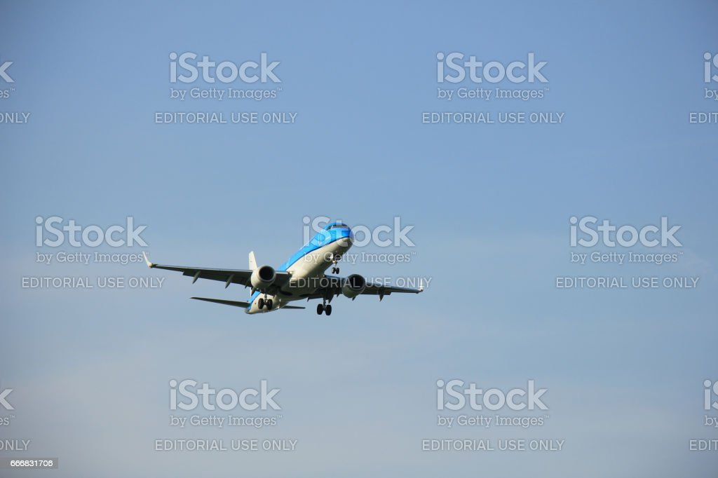 Amsterdam the Netherlands - May 6th 2016: PH-EZM KLM Cityhopper Embraer stock photo