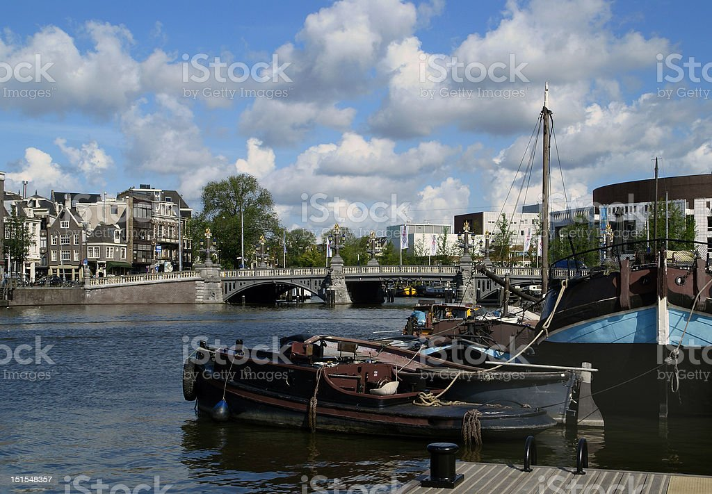Amsterdam, view over River Amstel  with the Blauwbrug royalty-free stock photo