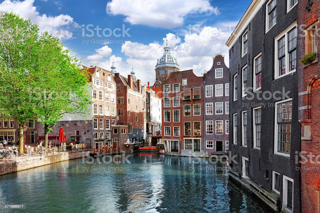 Amsterdam with canal in the downtown,Holland. stock photo