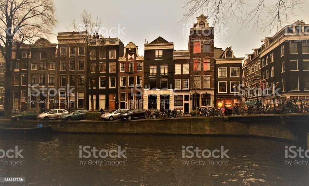 Amsterdamer Grachtenhäuser stock photo