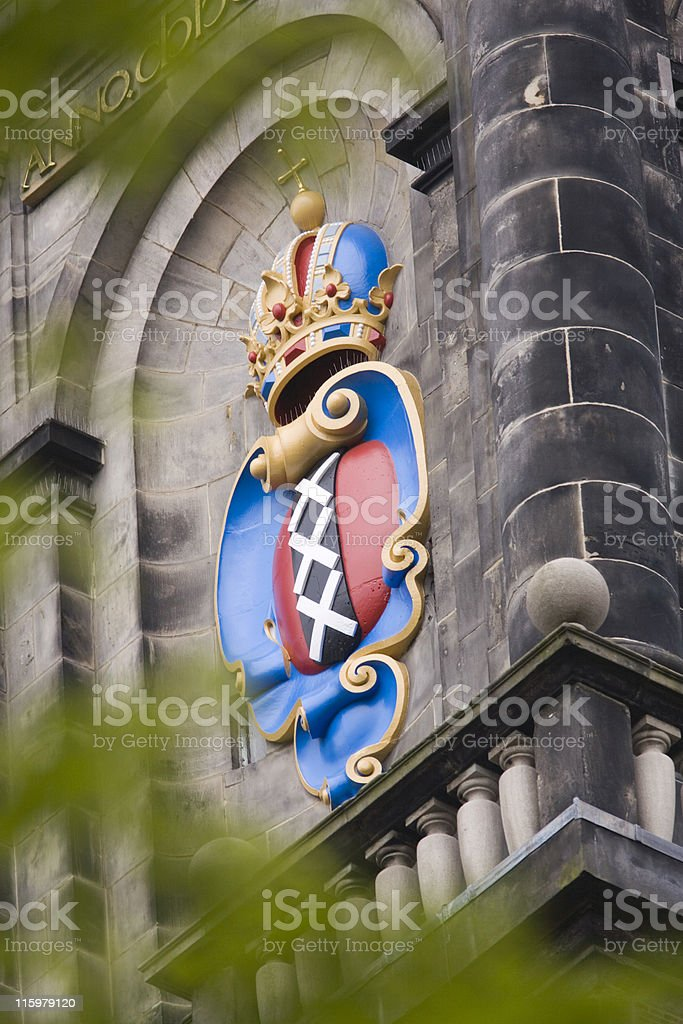 Amsterdam's official coat of arms on the Westerkerk royalty-free stock photo