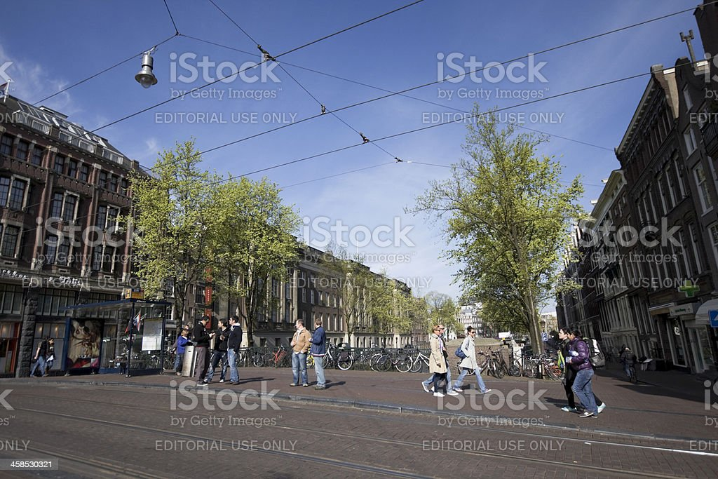 Amterdam downtown tram station royalty-free stock photo