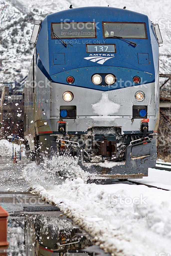 Amtrak Locomotive, California Zephyr, Flying Snow stock photo