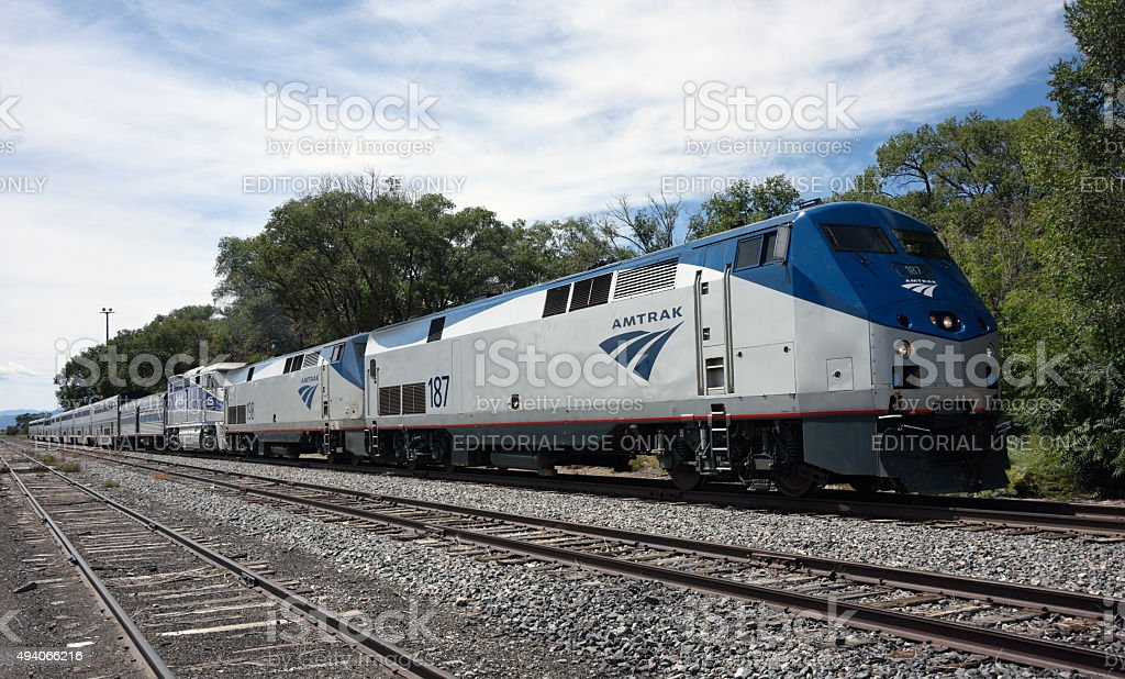 Amtrak Southwest Chief at Lamy New Mexico stock photo
