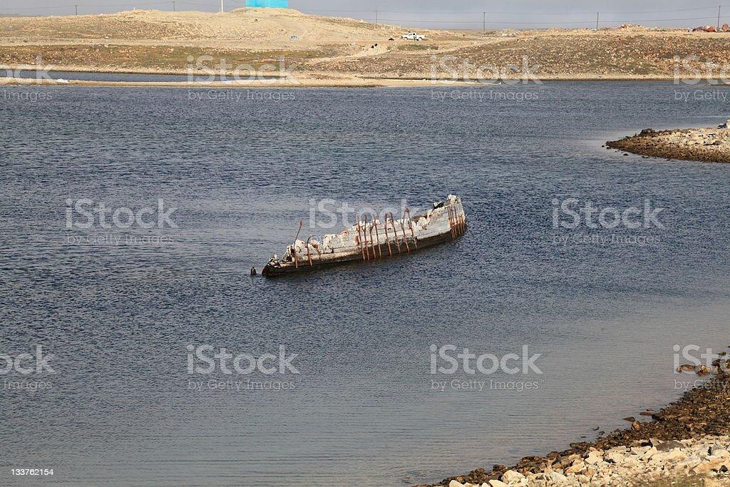 "Amundsen's ship ""Maud"" in Cambridge Bay, Nunavut, Canada. stock photo"