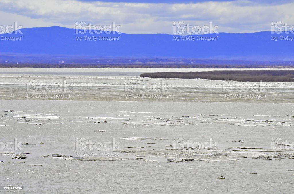 Amur river at spring stock photo