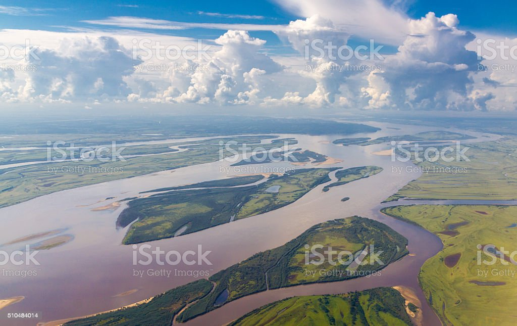 Amur river in Russia near Khabarovsk stock photo