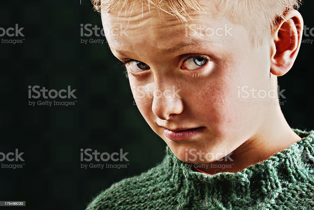 Amused and suspicious-looking little boy with raised eyebrows stock photo