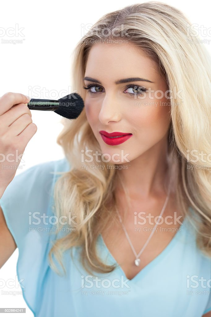 Blue dress makeup brush