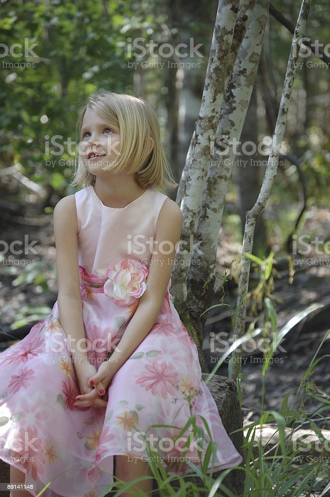 Amused girl in a Cypress Swamp - Full Portrait stock photo