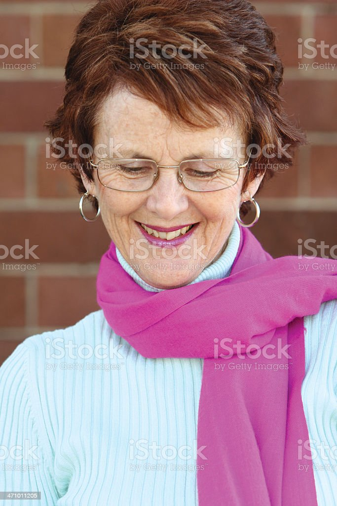 Amused, smiling woman. stock photo