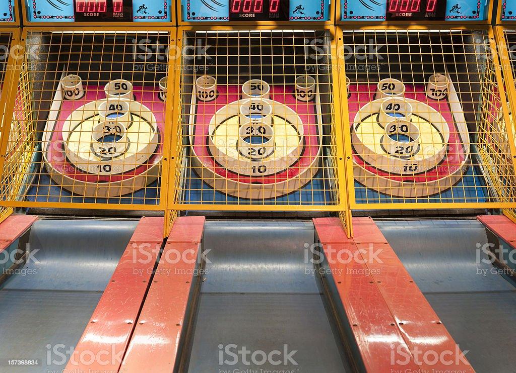 Amusement arcade game skeeball stock photo