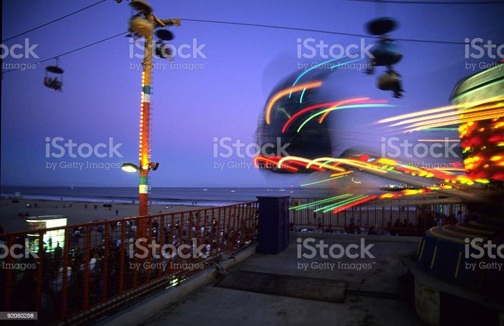 Amusement Park at Night stock photo