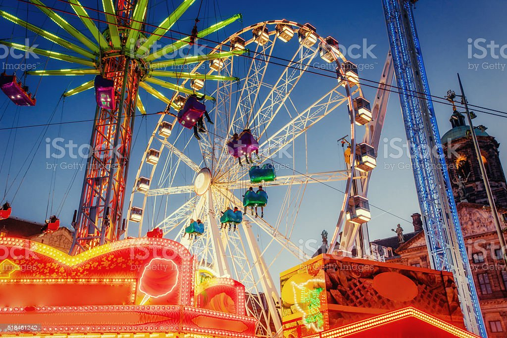 amusement park carousel stock photo