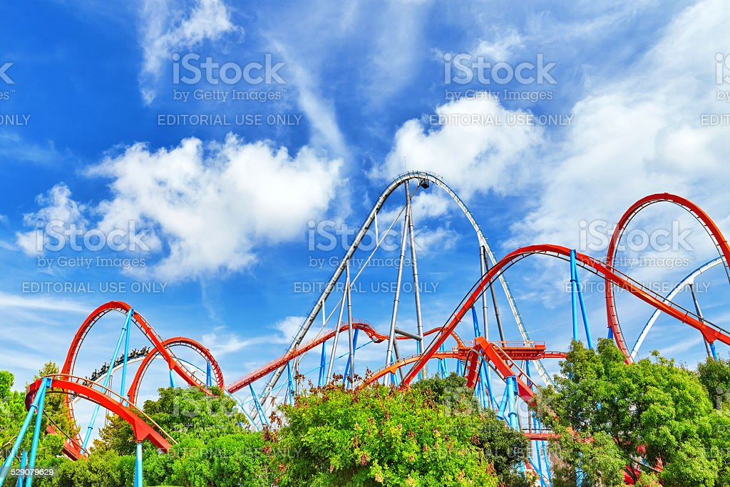 Amusement park in Spain near Salou- Port Aventura. stock photo
