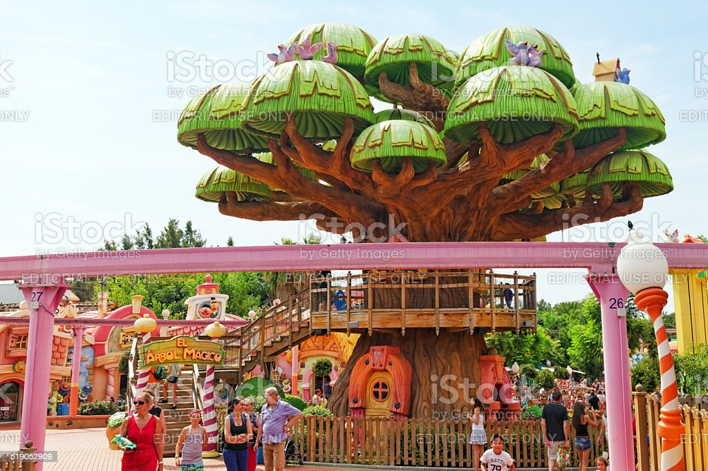 Amusement park in Spain near Salou :Port-Aventura stock photo