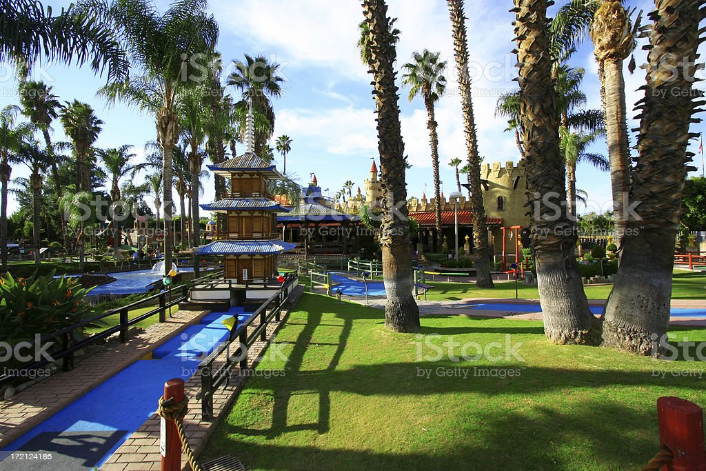 Amusement Park Pagoda stock photo