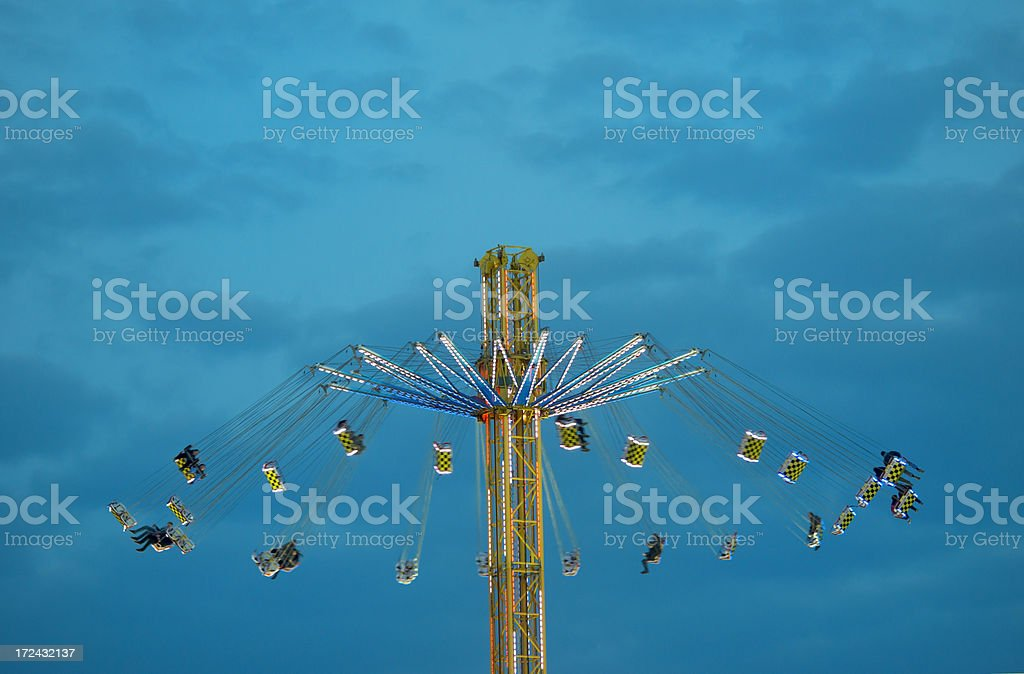 Amusement park ride at dusk royalty-free stock photo