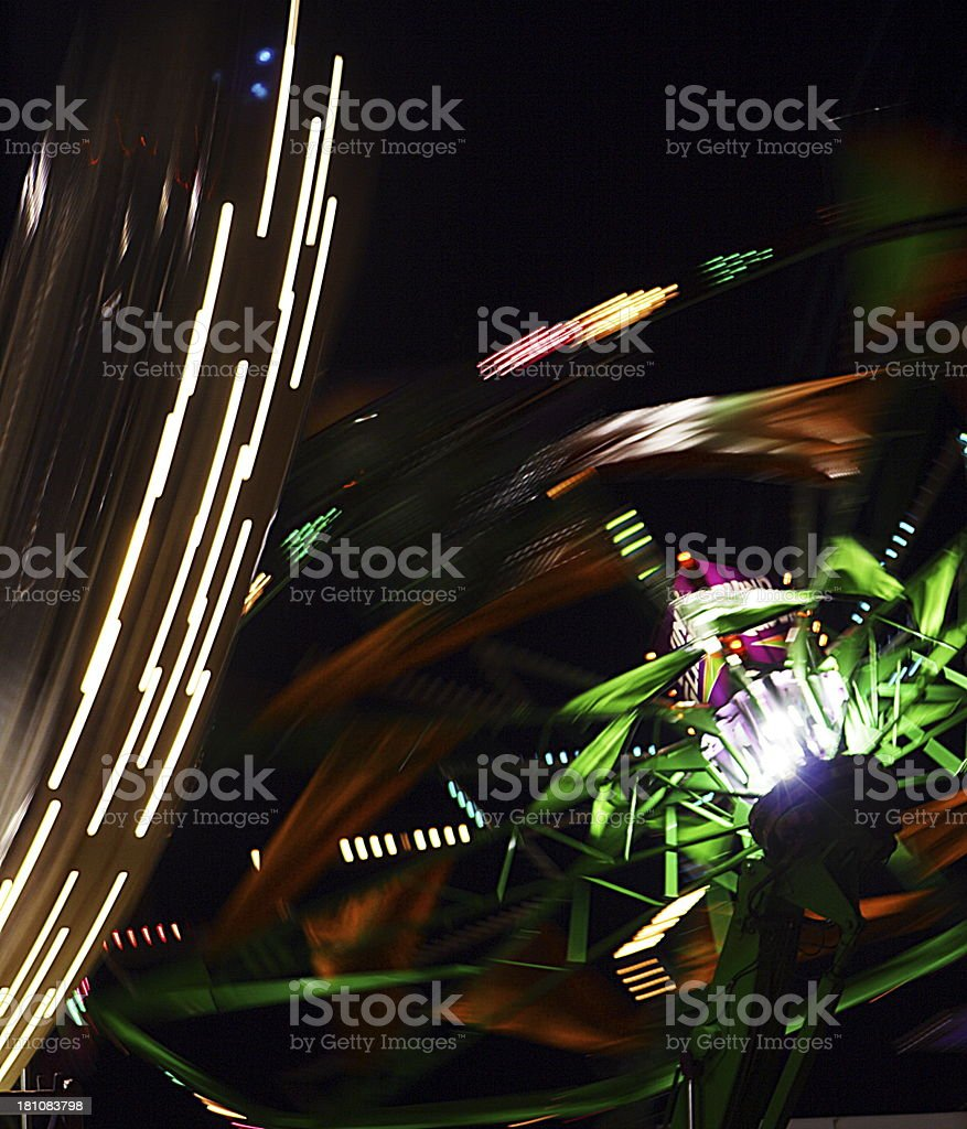 Night Carnival Amusement Park Ride Abstract stock photo