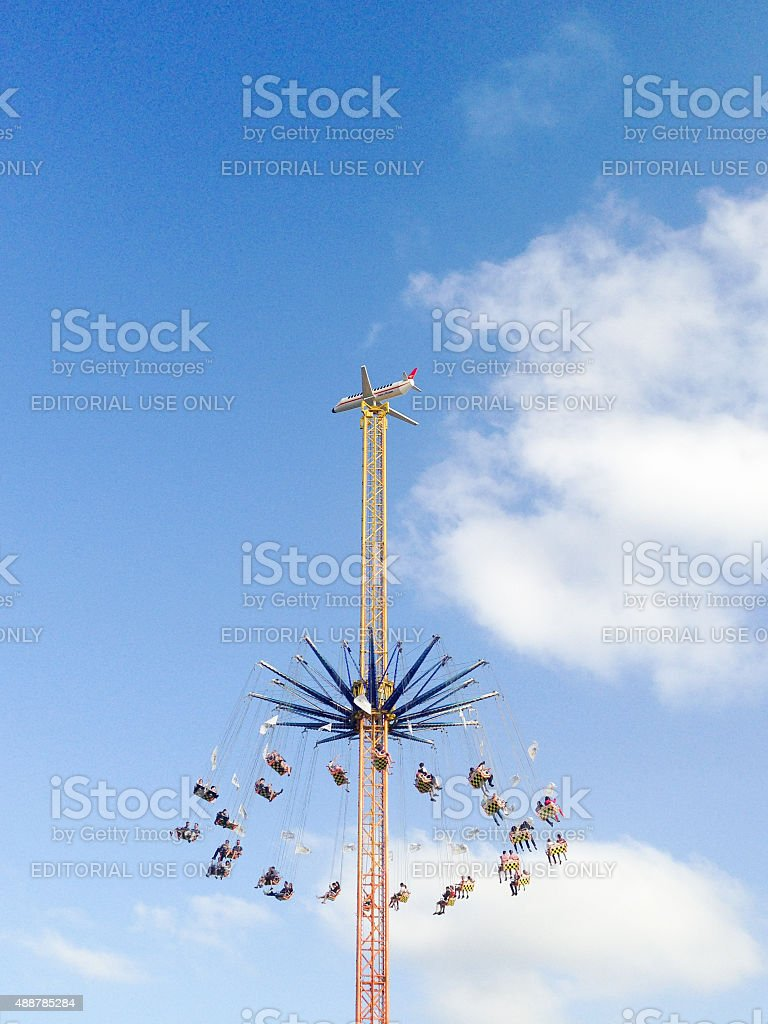Amusement Park Ride in Munich for the oktoberfest stock photo