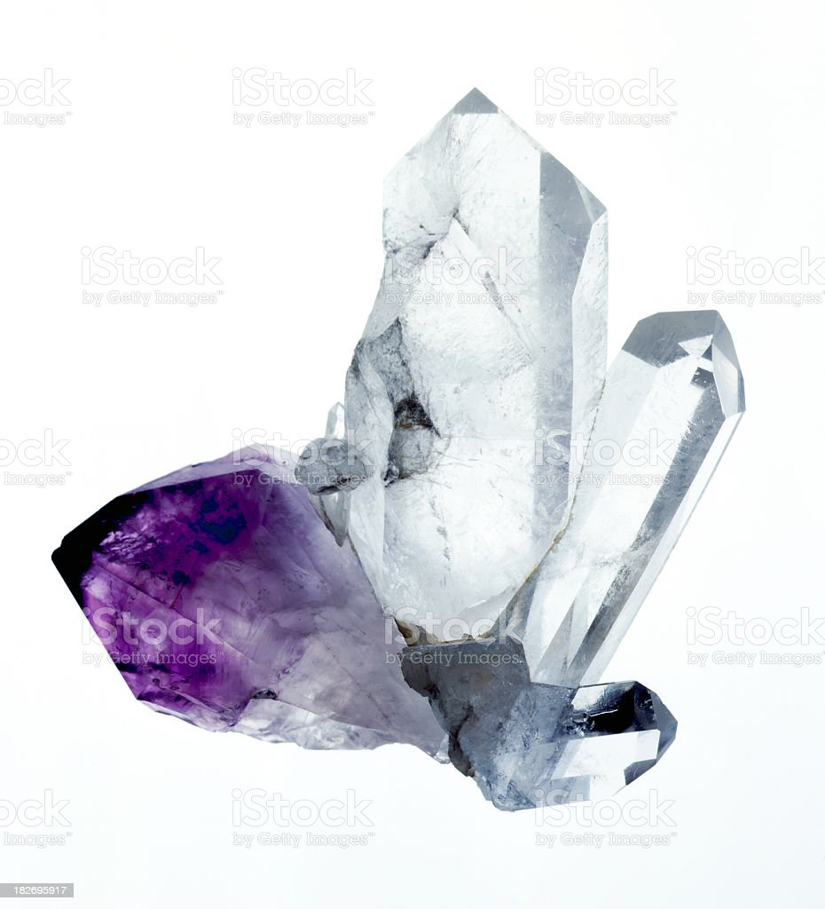 Amythyst & Quartz crystals stock photo