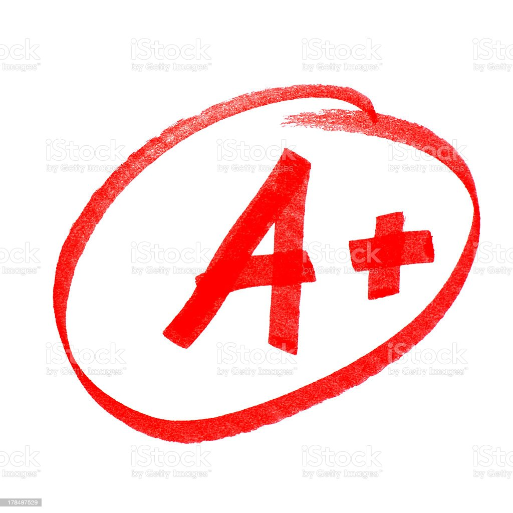 An A + circled on a blank white background stock photo