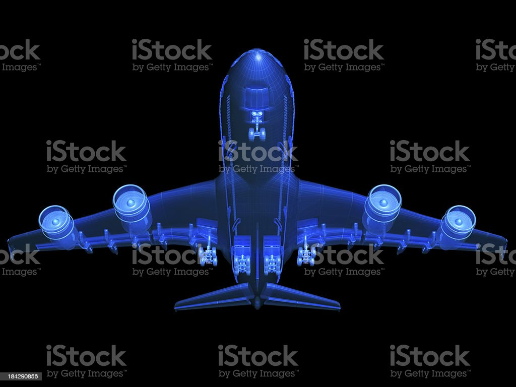 An A380 airplane 3D model sketch stock photo