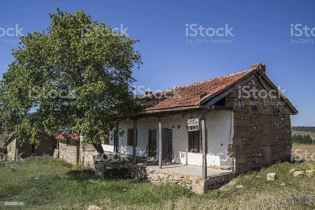 An abandoned old house in Kayi village Eskişehir. stock photo