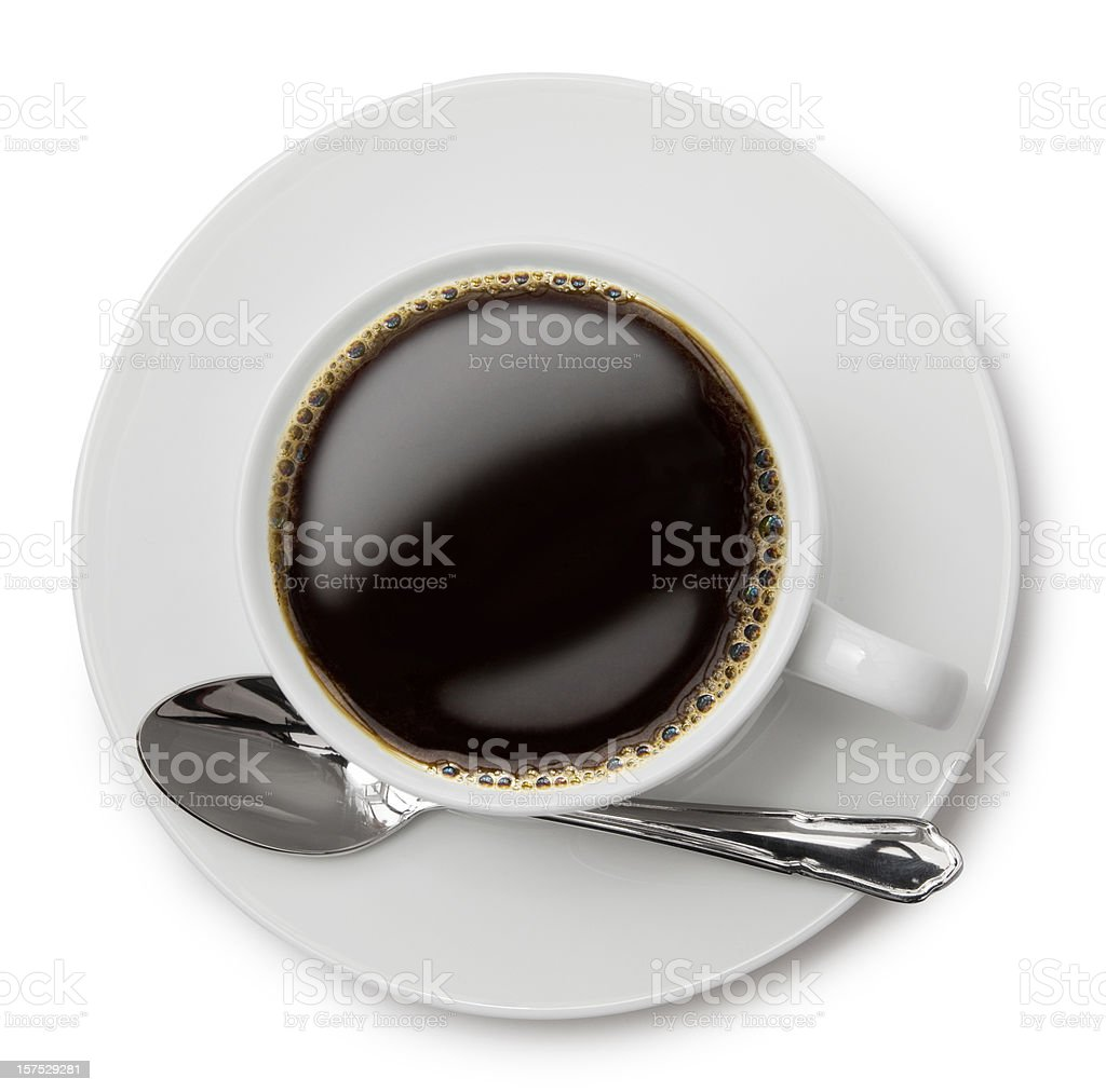 An above shot of black coffee in a white cup  stock photo