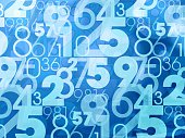 An abstract blue pattern with numbers