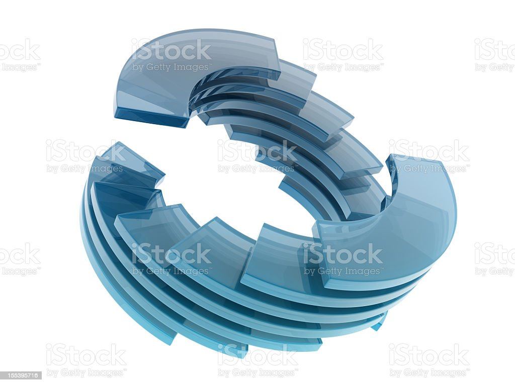 An abstract design of a circle made of glass royalty-free stock photo