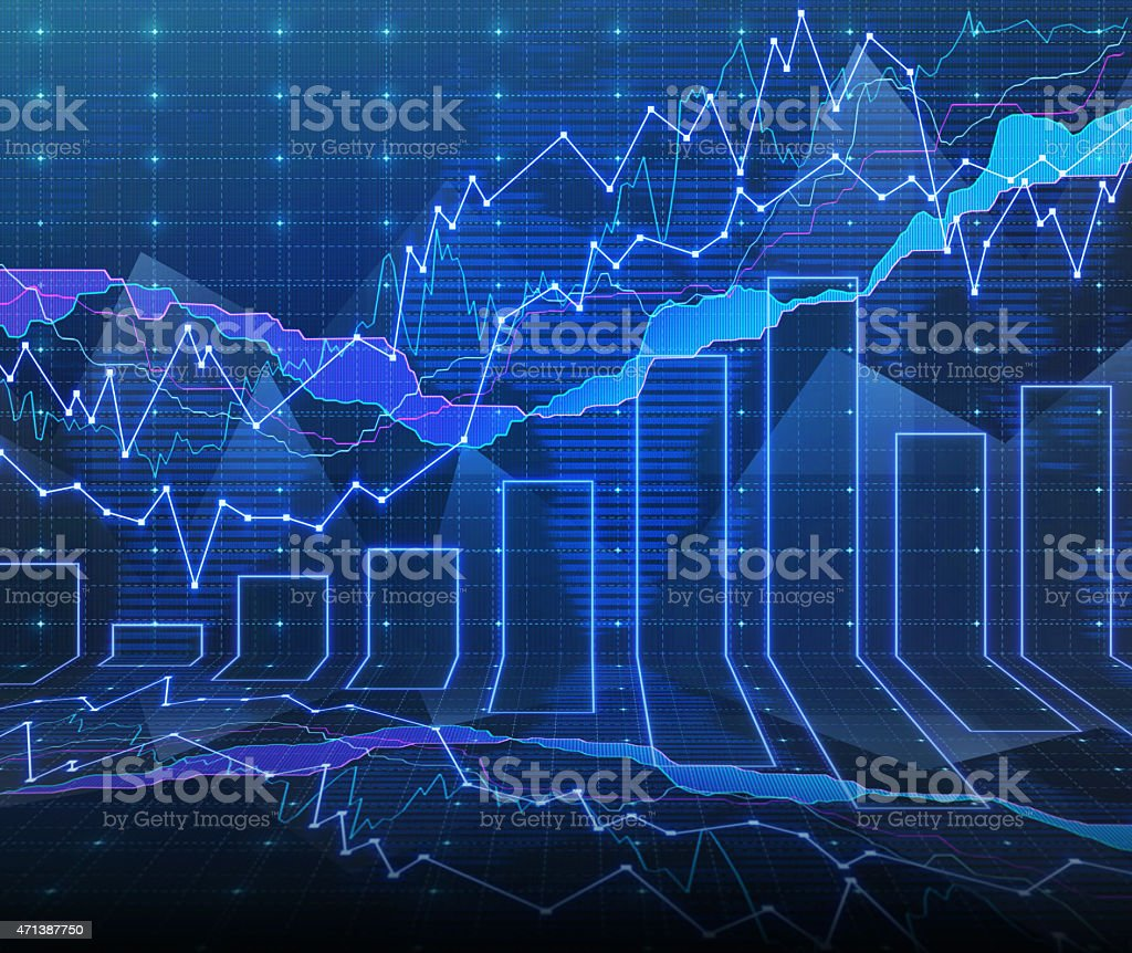 An abstract Forex graph room in blue stock photo