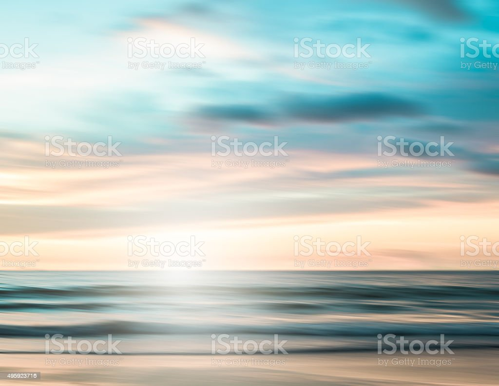 An abstract seascape with blurred panning motion background stock photo