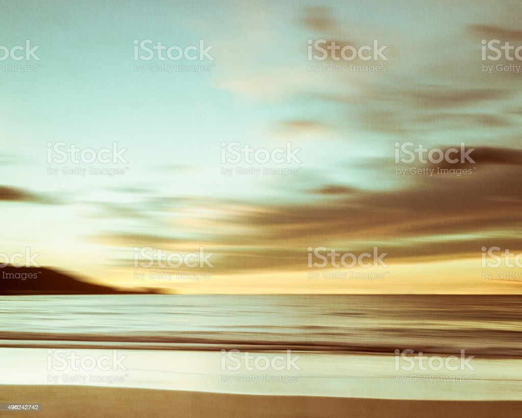 An abstract seascape with blurred panning motion on paper backgr stock photo