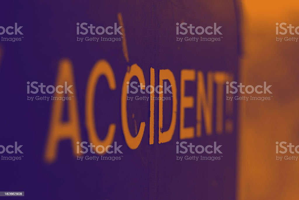 an ' accident ' lettering sign stock photo
