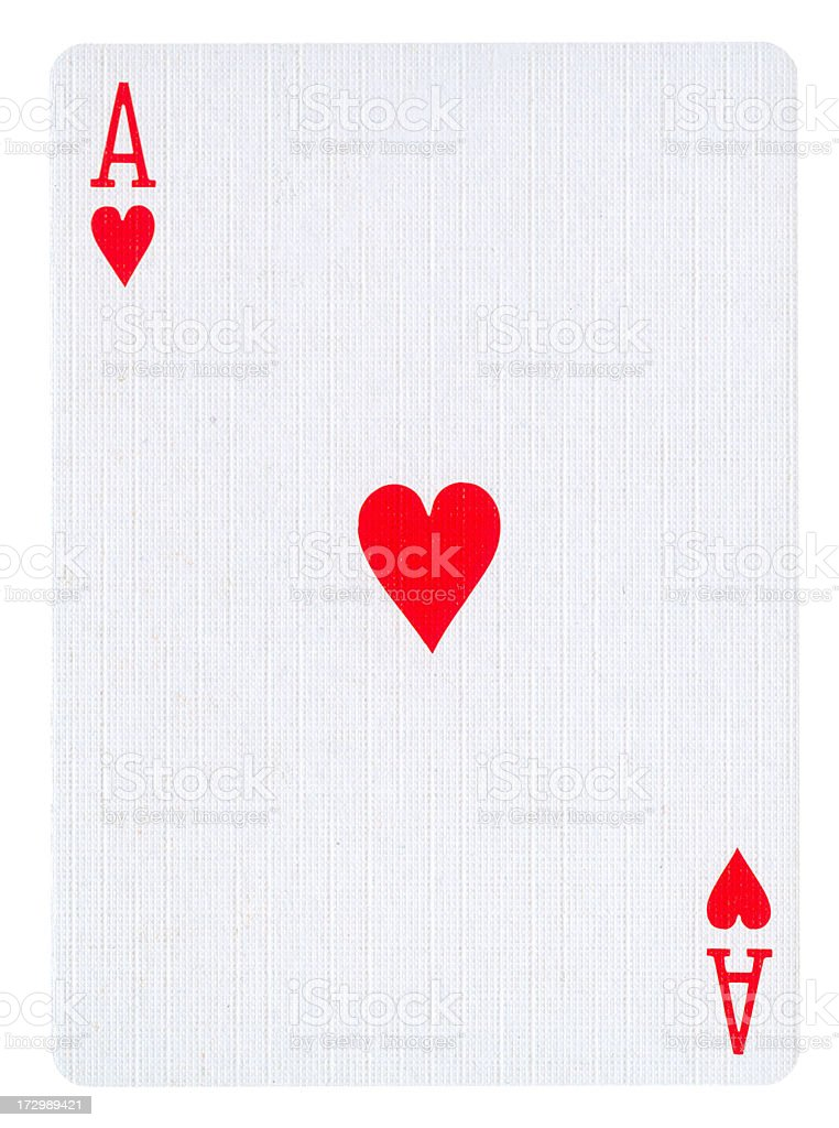 An ace of hearts card on a white background royalty-free stock photo