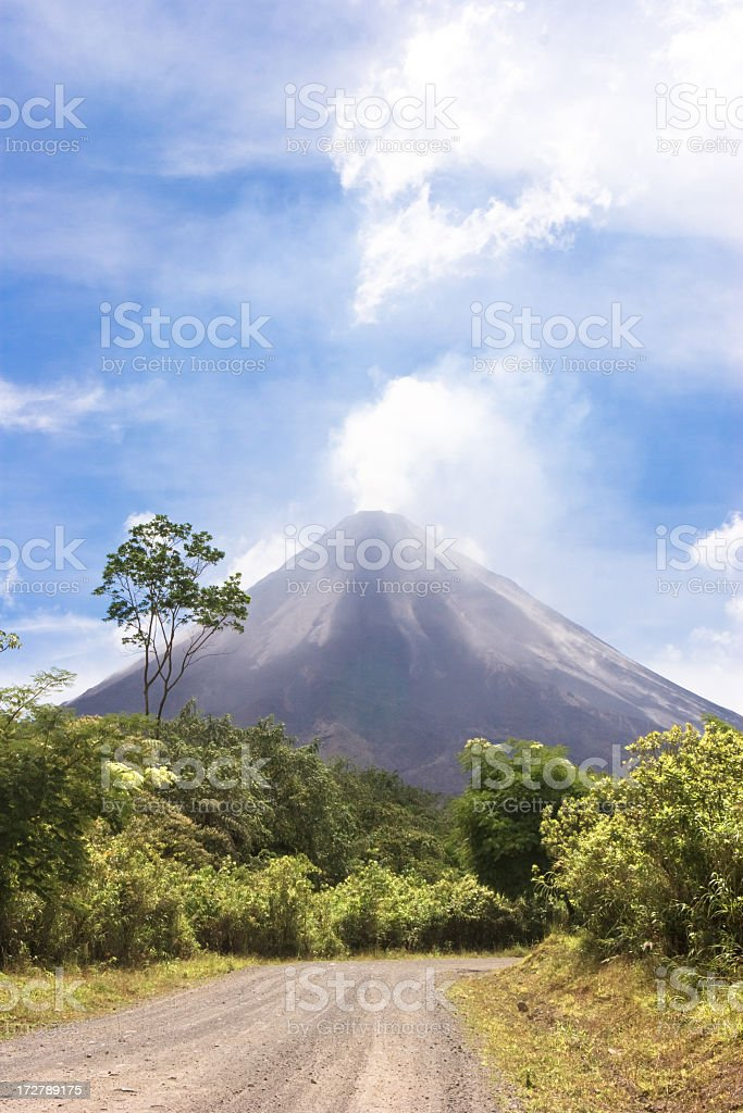 An active volcano with a view of the forest  royalty-free stock photo