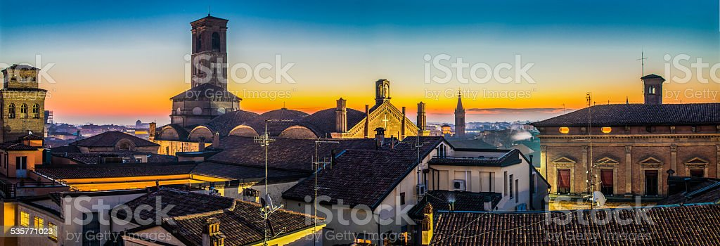 An aereal panorama view of Churchs in Bologna stock photo