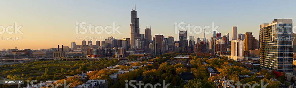 An aerial panoramic view of the city of Chicago at sunset stock photo
