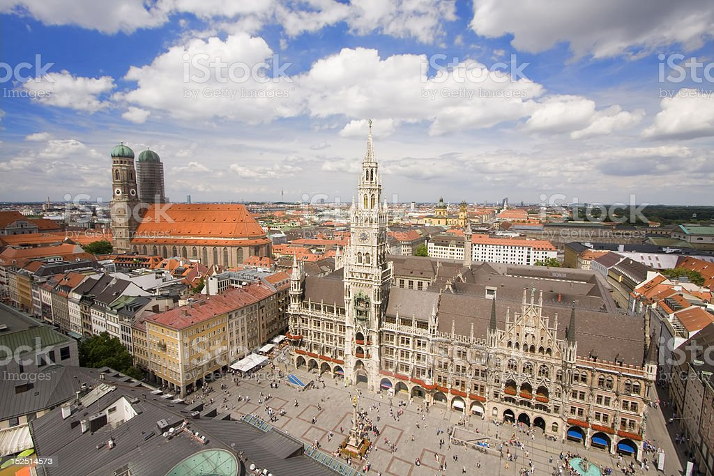 An aerial photo of Munich's city center stock photo