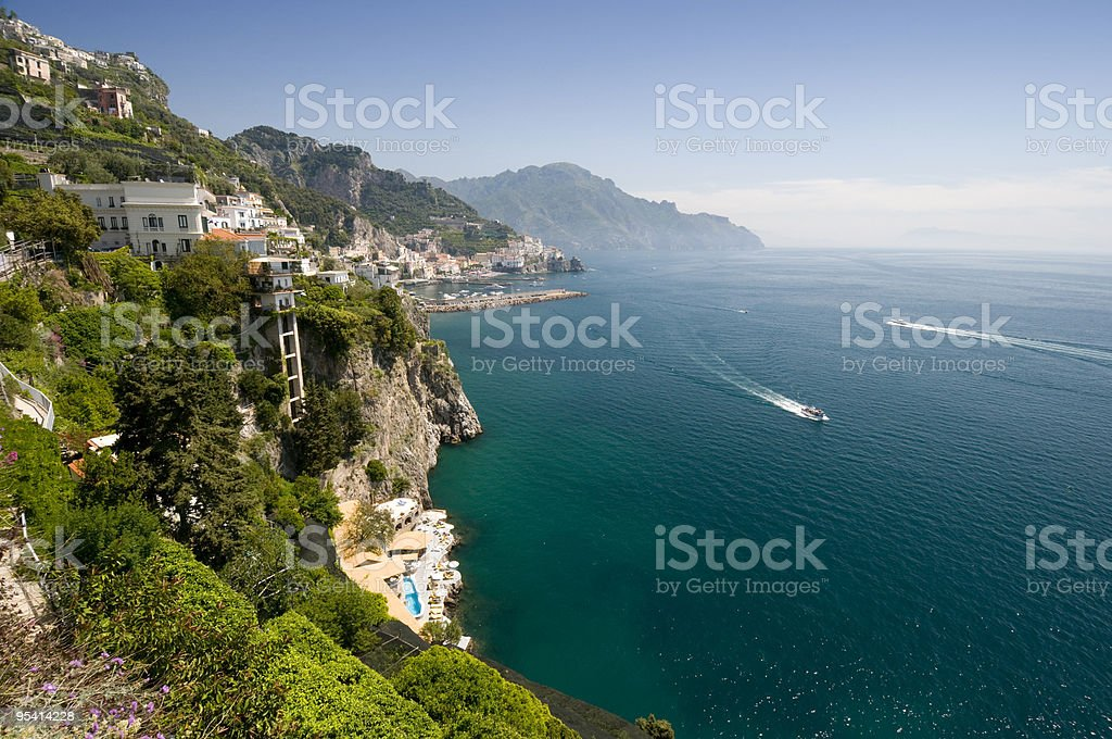 An aerial photo of the Amalfi coastline on a beautiful day royalty-free stock photo