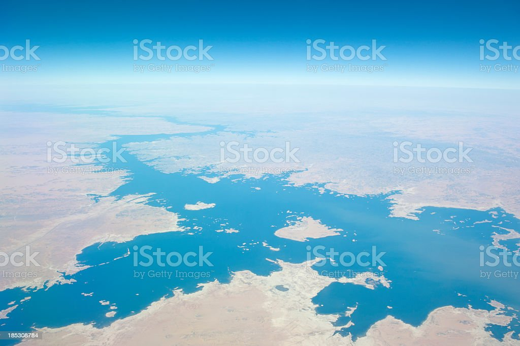 An aerial photo of the river Nile stock photo
