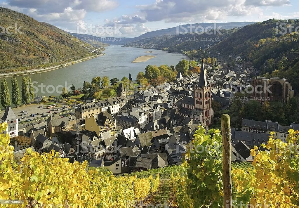 An aerial photograph of Bacharach against clouds stock photo